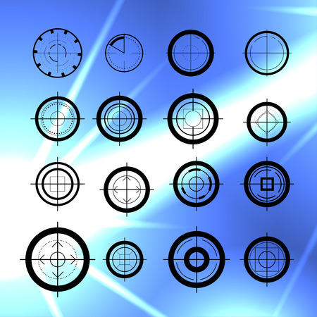 Vector flat aim icons set isolated. Game target symbol collection. Sniper shooting mark group. Illustration