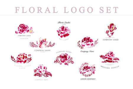 Watercolor floral hand drawn company logo design template collection isolated on white background. Floral composition set. Flower blossom, branch, leaf, wreath. Business company insignia. Ink drawing. Stock Photo