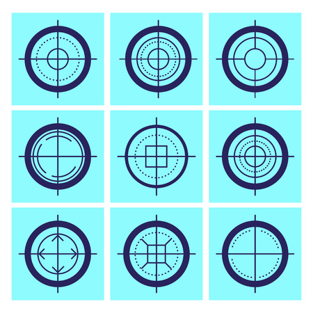 Vector flat aim icons set isolated. Game target symbol collection. Sniper shooting mark group. Stock Photo