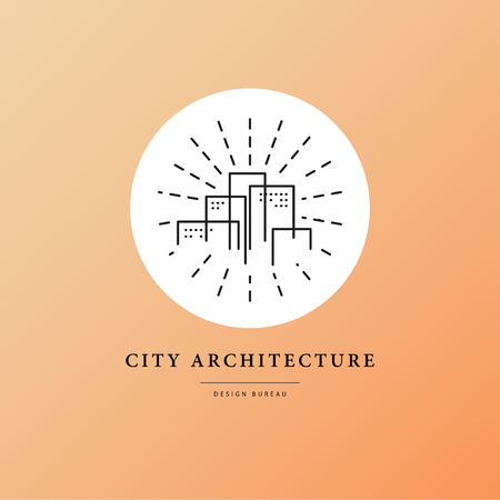 Vector flat city architect studio design isolated on white background. Urban architect bureau insignia icon. Building company, construction industry brand mark icon.