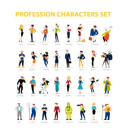 Vector flat people portraits collection isolated on white background. Social icons, personality characters group. Cartoon style. Business illustration. Happy, cheerful people avatar design. Emotions. 向量圖像