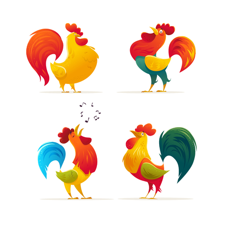 Vector New Year bird symbol design. Rooster, cock portrait cartoon illustration. Holiday card design element. Merry Christmas, happy New Year memory card, advertisement design. Chinese year symbol.