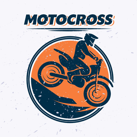 rider silhouette: Vector flat dynamic extreme sport illustration with moto free style rider silhouette. Mountain bike. Motorcycle icon. Rider portrait. Motorcycle design. Human figure. Grunge texture background. Vectores