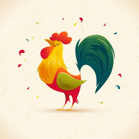 Vector New Year congratulation design. Rooster, cock portrait cartoon illustration. Holiday card design element. Merry Christmas, happy New Year memory card, advertisement design. Chinese year symbol. Vettoriali