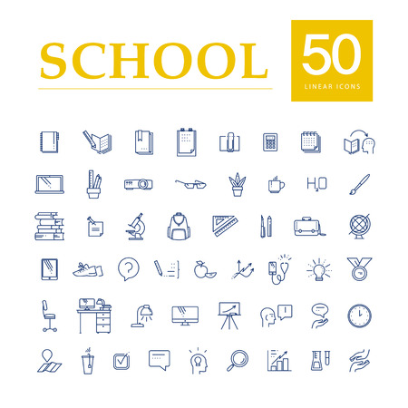 case studies: Vector collection of flat simple linear education icons isolated on white background. School studying icons design set. Knowledge, business symbols, signs. Contour drawing.