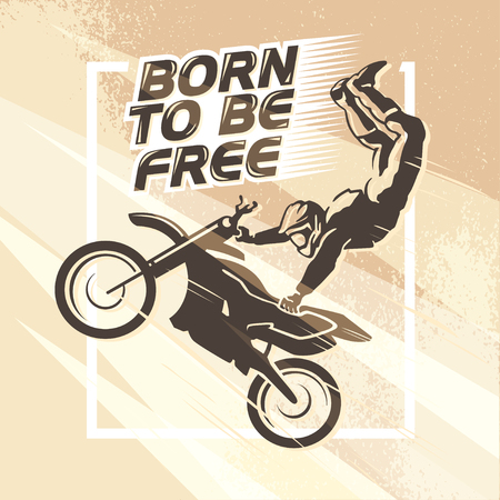 silueta ciclista: Vector flat dynamic extreme sport illustration. Moto free style rider silhouette. Motorcycle icon. Rider portrait. Motorcycle design. Human figure. Light effect, grunge texture background.