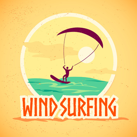 kite surf: Vector flat summer holiday illustration. Vintage, retro style. Surfer silhouette. Human figure. Extreme sport, summer resting. Wind surfing badge, label design template.