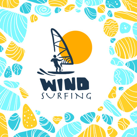 kite surf: Vector flat wind surfing illustration. Vintage, retro style. Surfer silhouette. Human figure. Extreme sport, summer resting. Summer banner, poster, placard, travel card design template.