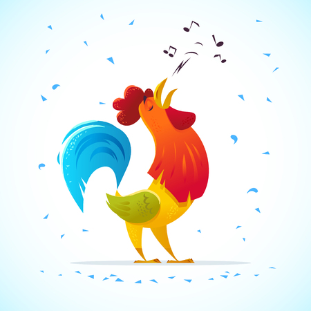 Vector New Year symbol design. Singing rooster, cock portrait cartoon illustration. Holiday card design element. Merry Christmas, happy New Year card, advertisement design. Chinese year symbol.