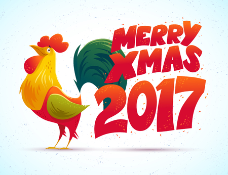 memory card: Vector New Year congratulation design. Rooster, cock portrait cartoon illustration. Holiday card design element. Merry Christmas, happy New Year memory card, advertisement design. Chinese year symbol. Illustration