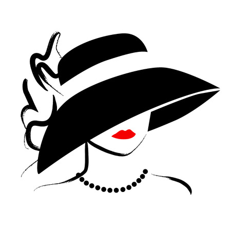 model fashion: Vector hand drawn beautiful lady in hat portrait isolated on white background. Contour drawing. Black stroke. Fashion, beauty model. Young awesome woman silhouette. Advertisement design elements.