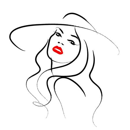 Vector Hand schöne Dame in Hut Porträt isoliert auf weißem Hintergrund gezeichnet. Konturzeichnung. Schwarz Schlaganfall. Mode, Schönheit Modell. Junge ehrfürchtige Frau Silhouette. Werbung Design-Elemente. Vektorgrafik