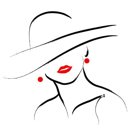 벡터 손 흰색 배경에 고립 모자 초상화 아름다운 여자를 그려. 윤곽 그리기. 블랙 스트로크. 패션, 뷰티 모델입니다. 젊은 멋진 여자 실루엣. 광고 디자
