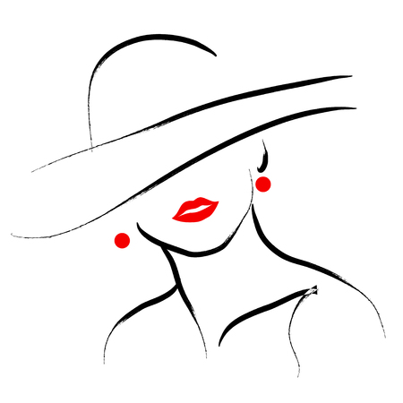 black stroke: Vector hand drawn beautiful lady in hat portrait isolated on white background. Contour drawing. Black stroke. Fashion, beauty model. Young awesome woman silhouette. Advertisement design elements.