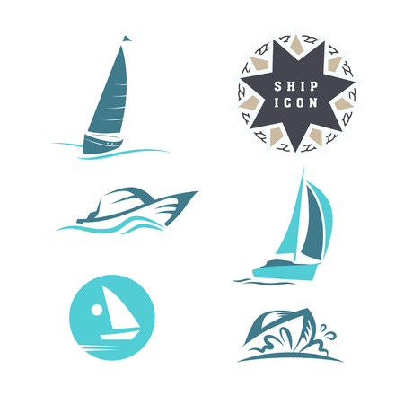 Vector club náutico plana, icono regata conjunto. barco de vela, icono nave, Colección de la silueta. Emblema, plantilla de credencial. escuela náutica, club de la muestra marca de la marca.