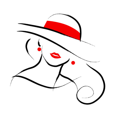 black: Vector hand drawn beautiful lady in hat portrait isolated on white background. Contour drawing. Black stroke. Fashion, beauty model. Young awesome woman silhouette. Advertisement design elements.