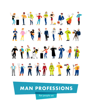 Vector flat man portrait collection isolated on white background. Guy social icons, personality characters group. Cartoon style. Business illustration. Happy, cheerful people avatar design. Emotions. Ilustração