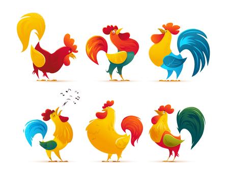 벡터 새해 기호 디자인입니다. 닭, 수탉 초상화 만화 그림. 메리 크리스마스, 새해, 크리스마스 휴일 메모리 카드 디자인 요소입니다. 중국 년도 기호입
