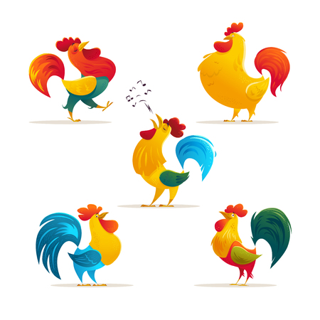 Vector New Year symbol design. Rooster, cock portrait cartoon illustration. Holiday card design element. Merry Christmas, happy New Year memory card, advertisement design. Chinese year symbol.