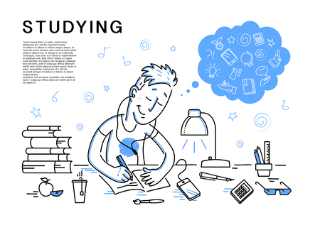 Vector flat studiyng boy illustration. School icons set isolated. Contour drawing. Doodle style. Hand drawn boy portrait. Pupil doing home task. Back to school illustration. Cheerful student character