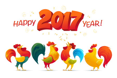 Vector New Year congratulation design. Rooster, cock portrait cartoon illustration. Holiday card design element. Merry Christmas, happy New Year memory card, advertisement design. Chinese year symbol. Reklamní fotografie - 62175297