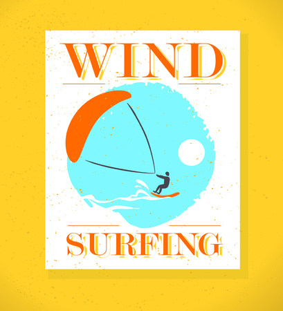 surfer silhouette: Vector flat wind surfing illustration. Vintage, retro style. Surfer silhouette. Human figure. Extreme sport, summer resting. Summer banner, poster, placard, travel card design template.