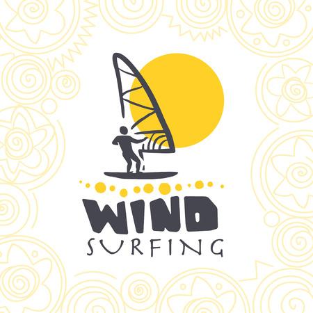 Vector flat wind surfing illustration. Vintage, retro style. Surfer silhouette. Human figure. Extreme sport, summer resting. Summer banner, poster, placard, travel card design template.