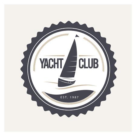 Vector yacht piatta club, il design regata. Barca a vela, icona nave, silhouette. Emblema, modello distintivo. scuola nautica, club campione di marchio di marca.