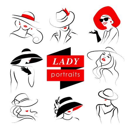 Vector dibujado a mano bella dama en el retrato del sombrero aislado en el fondo blanco. dibujo del contorno. trazo negro. Moda, modelo de belleza. Joven mujer silueta impresionante. elementos de diseño de publicidad. Foto de archivo - 62175487