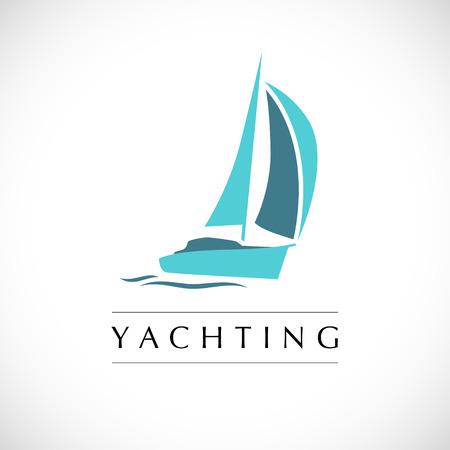 Vector club náutico plana, diseño regata. barco de vela, icono nave, silueta. Emblema, plantilla de credencial. escuela náutica, club de la muestra marca de la marca.