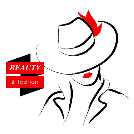 ベクトル手描きで美しい女性白い背景で隔離の帽子の肖像画。輪郭の描画。黒色のストローク。ファッション、ビューティー モデル。素晴らしい若