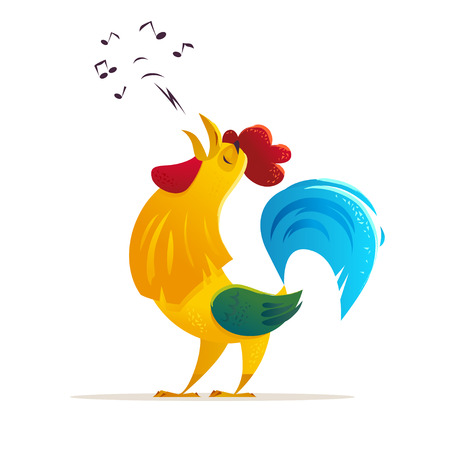 Vector New Year congratulation design. Singing rooster, cock portrait cartoon illustration. Holiday card design element. Merry Christmas, happy New Year card, advertisement design. Chinese year symbol Illustration