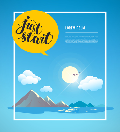 water animal bird card  poster: Vector flat summer simple illustration. Nature view with mountain, sea, sky, sun, clouds, water, birds, landscape. Conversation balloon with text message. Banner, poster, placard, card design template