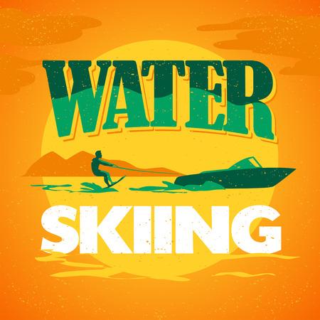 Vector flat waterskiën illustratie. Vintage, retro-stijl. Surfer silhouet. Menselijke figuur. Extreme sport, zomer rusten. Zomer banner, poster, aanplakbiljet, travel card design template.