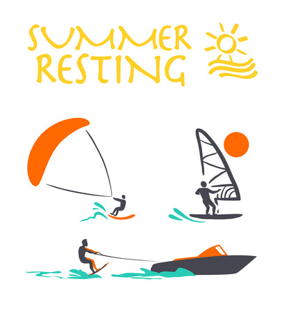 surfer silhouette: Vector flat wind surfing, water skiing illustration. Vintage, retro style. Surfer silhouette. Human figure. Extreme sport, summer resting. Summer banner, poster, travel card design template.
