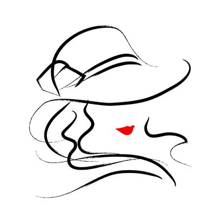Vector dessiné à la main belle dame au chapeau portrait isolé sur fond blanc. dessin Contour. AVC Noir. Mode, modèle de beauté. Jeune silhouette femme impressionnante. Publicité des éléments de conception. Banque d'images - 62175932