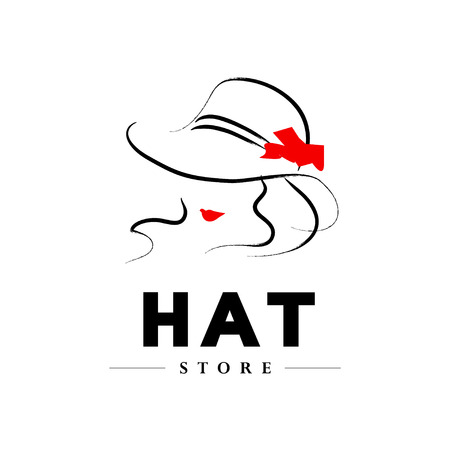 beauty model: Vector hand drawn beautiful lady in hat portrait isolated on white background. Contour drawing. Black stroke. Fashion, beauty model. Young awesome woman silhouette. Advertisement design elements.
