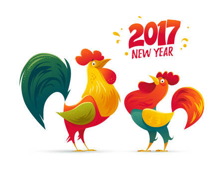 Vector New Year congratulation design. Rooster, cock portrait cartoon illustration. Holiday card design element. Merry Christmas, happy New Year memory card, advertisement design. Chinese year symbol. Ilustração