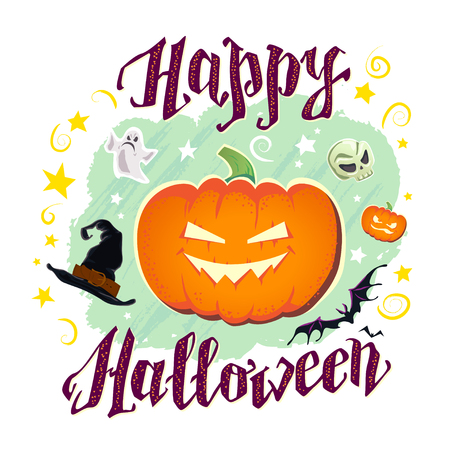 31: Vector flat halloween card, banner, poster, placard, party invitation, flayer design. Halloween background design. Cartoon style. Hand written font. Pumpkin, witch hat, skull, ghost character. Illustration