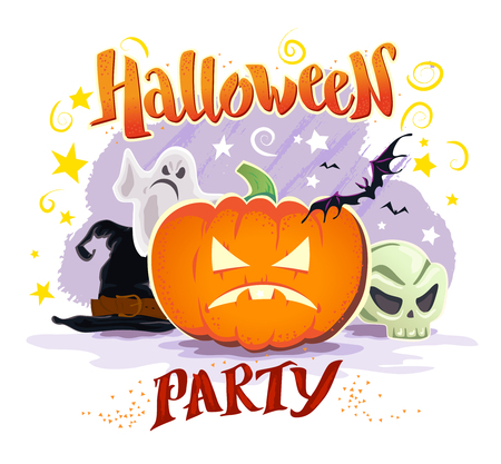 october 31: Vector flat halloween card, banner, poster, placard, party invitation, flayer design. Halloween background design. Cartoon style. Hand written font. Pumpkin, witch hat, skull, ghost character. Illustration