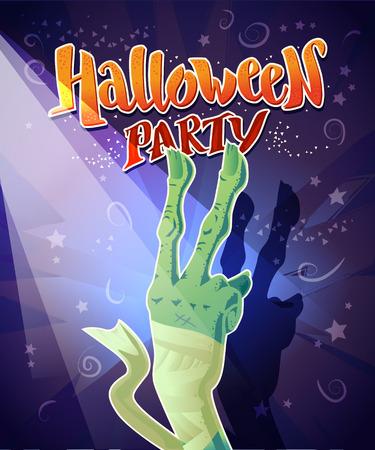 31: Vector flat halloween card, advertisement, banner, poster, placard, party invitation, flayer design. Halloween background design. Cartoon style. Hand written font. Zombie hand.