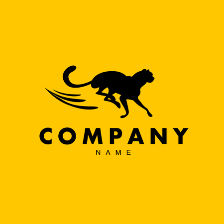shoe repair: Vector simple abstract logo with running cheetah silhouette isolated. Good for shoe shop brand, sport cloth, goods brand mark, auto service, garage repair emblem.