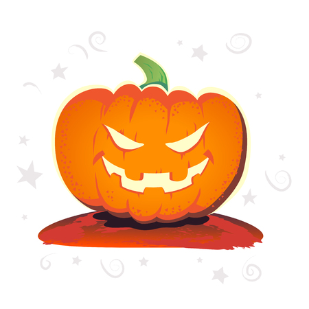 october 31: Vector flat halloween card, advertisement, banner, poster, placard, party invitation, flayer design. Halloween background design. Cartoon style. Hand written font. Pumpkin character. Illustration