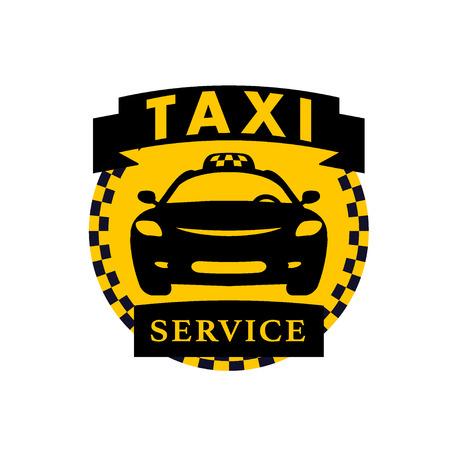 Vector flach Taxi-Logo auf weißem Hintergrund. Auto-Gesicht Symbol Silhouette. Auto-Logo-Vorlage. Taxi-Service Markendesign. Logo