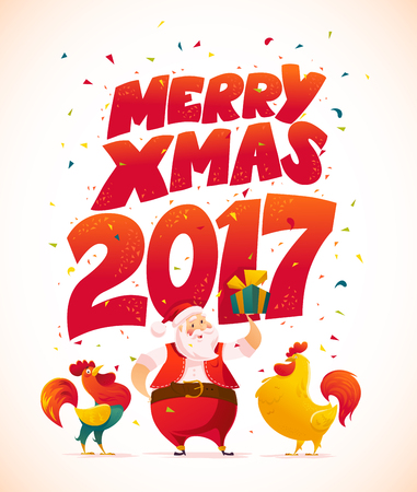 flayer: Vector santa and funny rooster characters portrait on white background. Cartoon style. New Year, merry christmas, xmas congratulation design element. Good for holiday card, banner, flayer, leaflet. Illustration