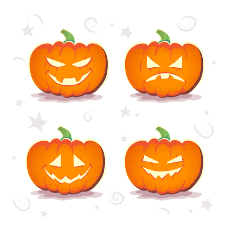 Vector flat halloween card, advertisement, banner, poster, placard, party invitation, flayer design. Halloween background design. Cartoon style. Hand written font. Pumpkin character. Illustration