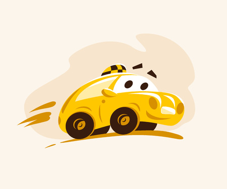 Vector flat taxi car riding across the city. Cartoon style illustration. Funny character. Taxi service logo. Good for advertising, business card, poster, placard. Illustration