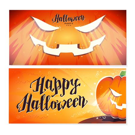 Vector flat halloween card, advertisement, banner, poster, placard, party invitation, flayer design. Halloween background design. Cartoon style. Hand written font. Pumpkin character. Illustration