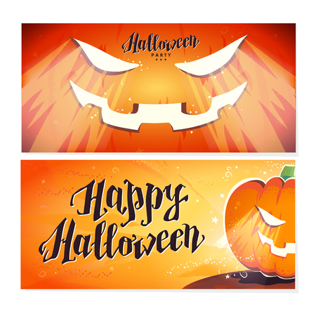 flayer: Vector flat halloween card, advertisement, banner, poster, placard, party invitation, flayer design. Halloween background design. Cartoon style. Hand written font. Pumpkin character. Illustration