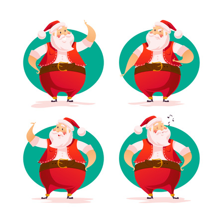 벡터 플랫 산타 캐릭터 흰색 배경에 고립 된 세로. 만화 스타일입니다. 메리 크리스마스, 행복 한 새 해 축 하 장식 디자인 요소입니다. 좋은 크리스마